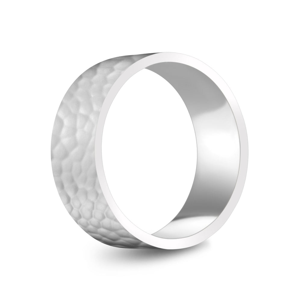 8mm 10K Gold High Polished Hammered Wedding Band