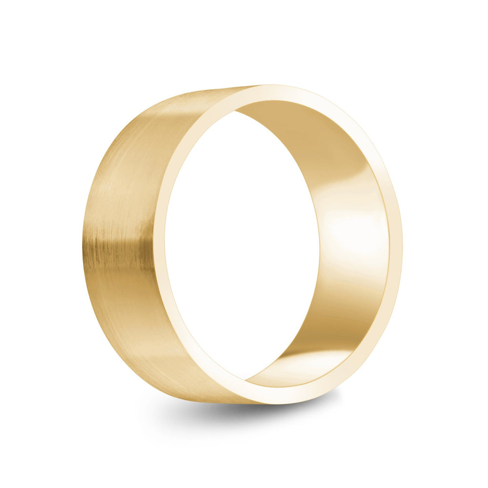 Load image into Gallery viewer, 8mm 14K Gold Brushed Flat Wedding Band