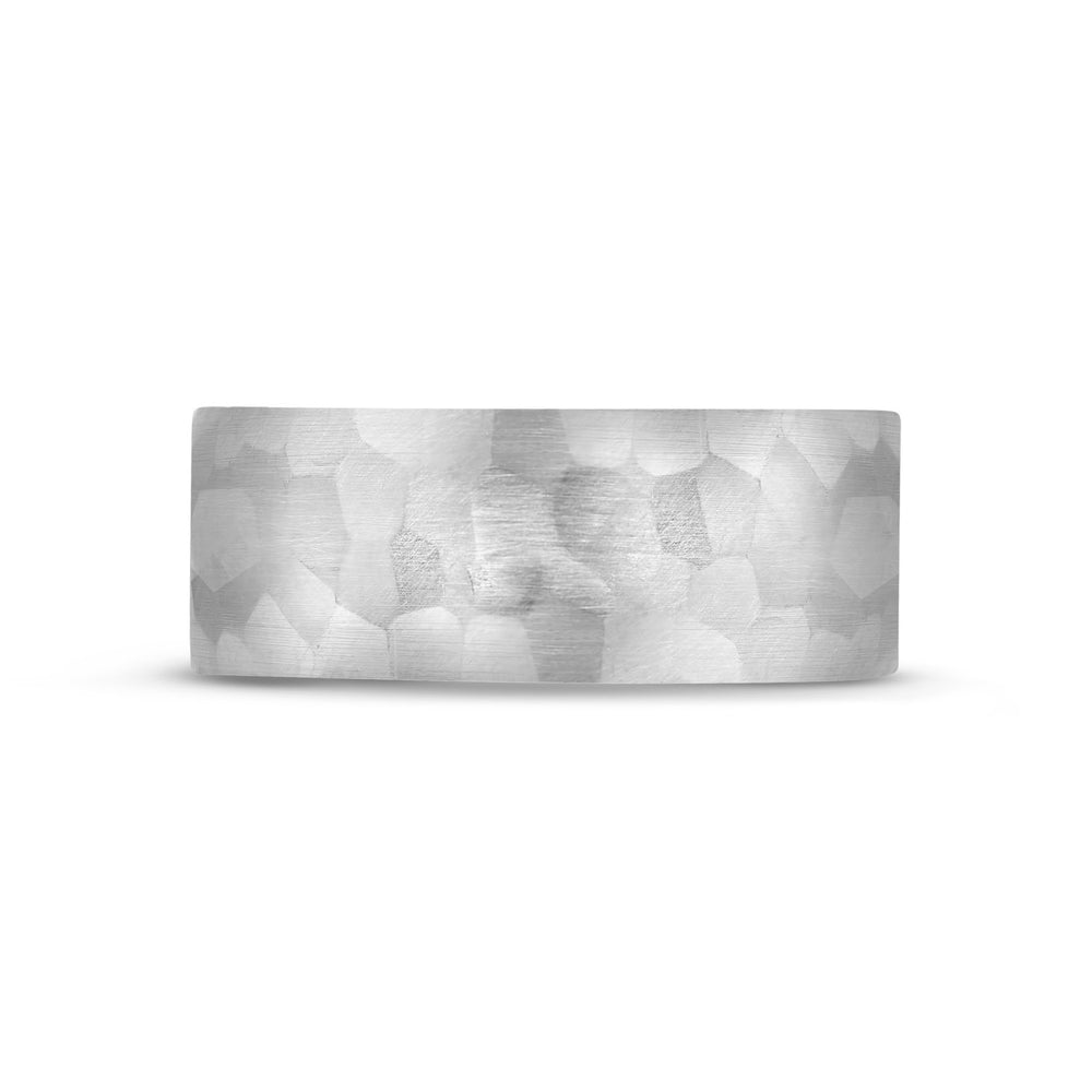 8mm 14K Gold Brushed Hammered Wedding Band
