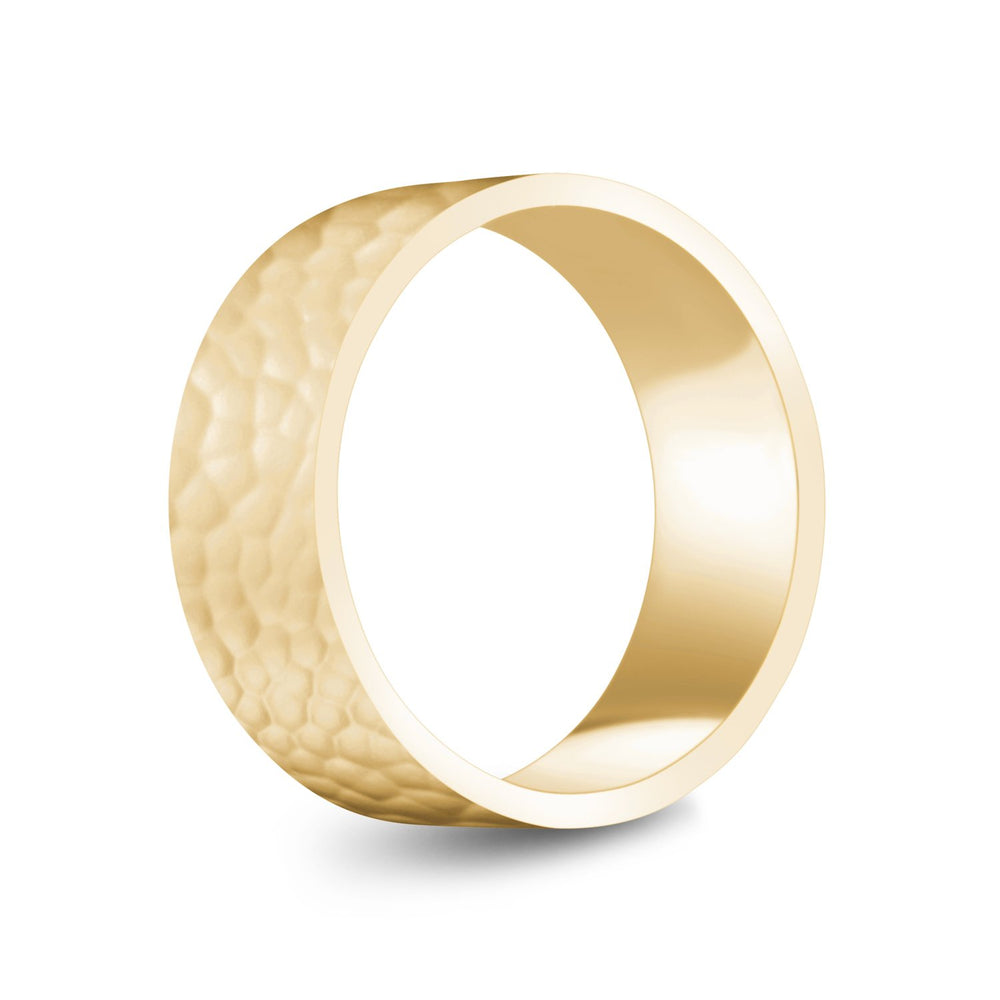 8mm 14K Gold High Polished Hammered Wedding Band