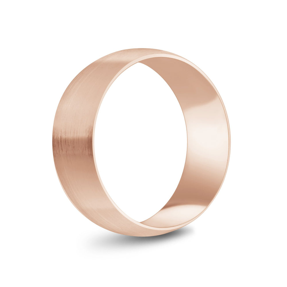 8mm 18K Gold Brushed Dome Wedding Band