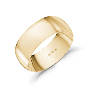 8mm 18K Gold High Polished Dome Wedding Band
