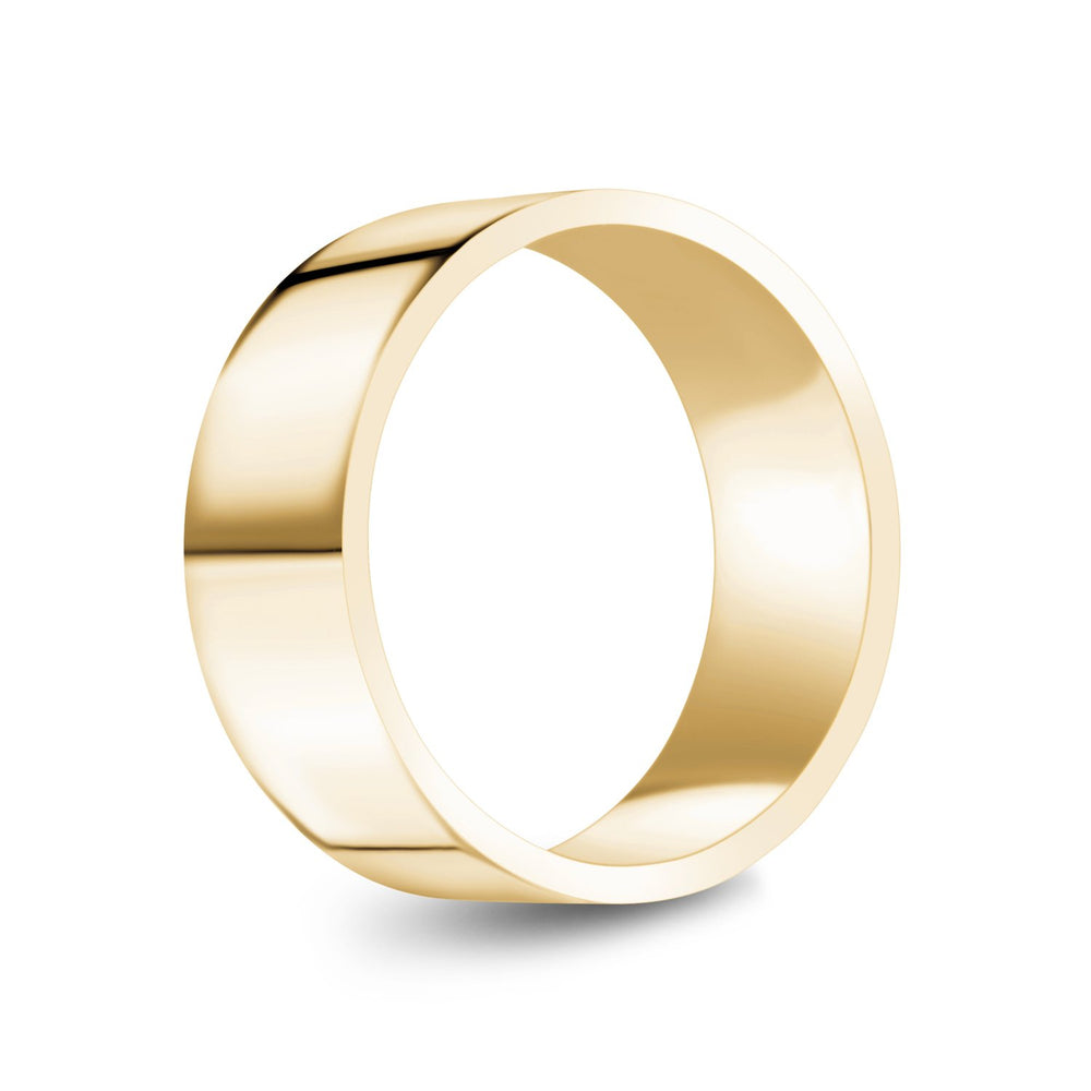 8mm 18K Gold High Polished Flat Wedding Band