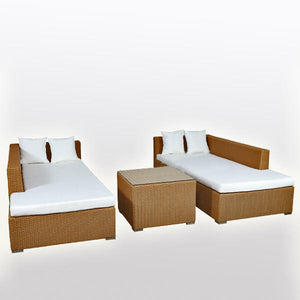 Outdoor Wicker Sun Lounger - Umbrella