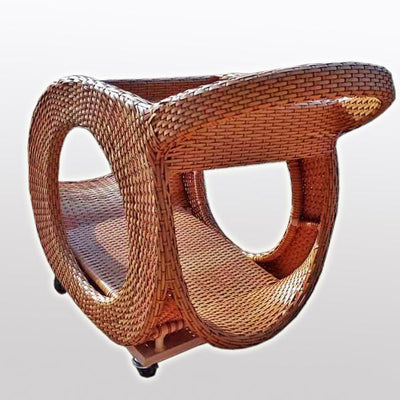 Outdoor Wicker Serving Trolley- Latte