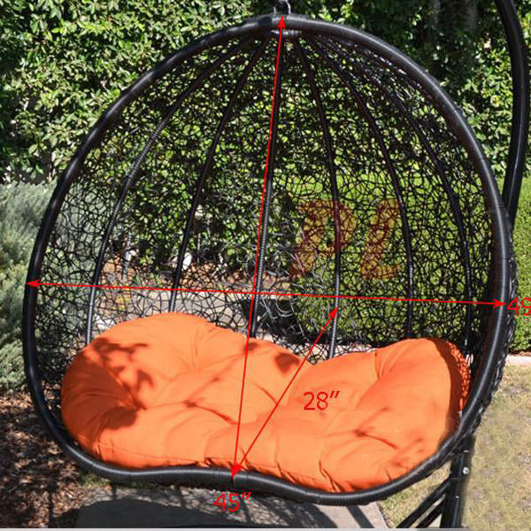 Outdoor Wicker - Swing With Stand - Pomegranate
