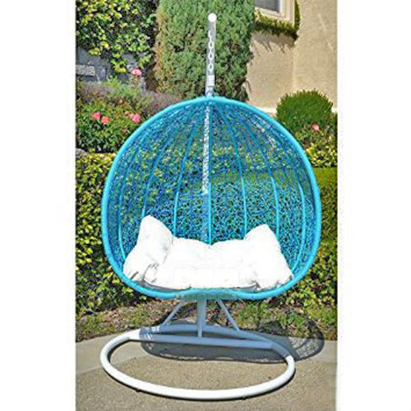 Outdoor Wicker - Swing With Stand - Sky Blue Pomegranate
