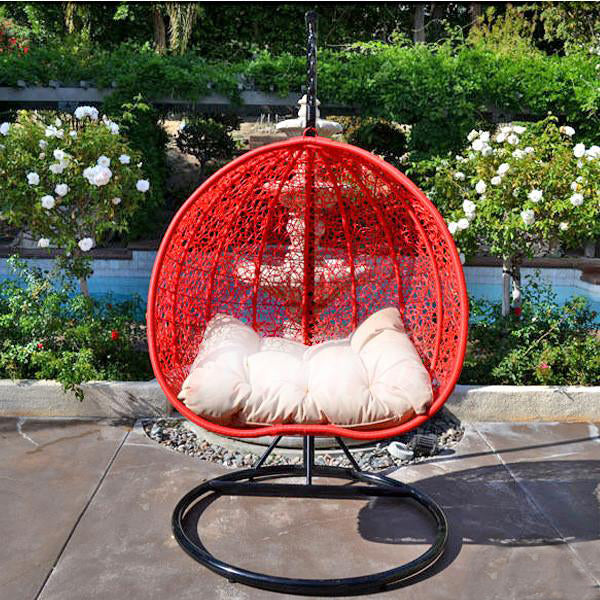Outdoor Wicker - Swing With Stand - Red Pomegranate