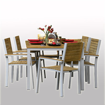 Outdoor Wood & Steel - Dining Set - Ash