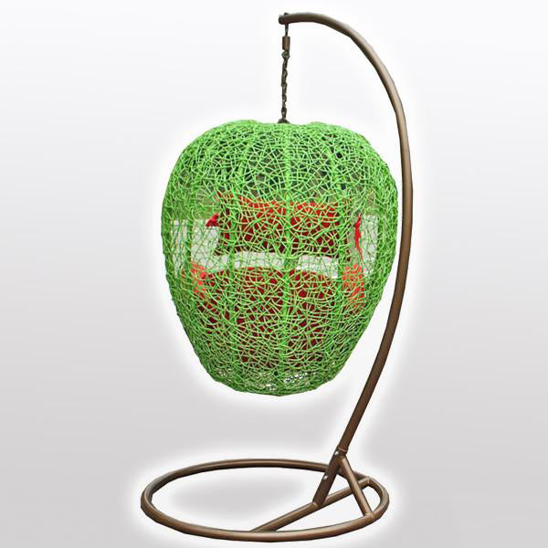 Outdoor Wicker - Swing With Stand - Green Apple