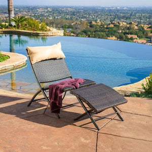 Outdoor Furniture - Sun Lounger & Foot Rest - Flamingo