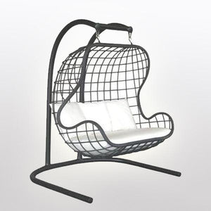 Outdoor Wicker Two Seater- Swing With Stand - Earth