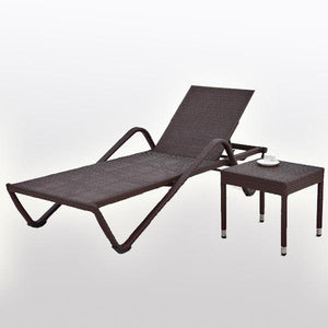 Outdoor Wicker - Sun Lounger & Table - Pool