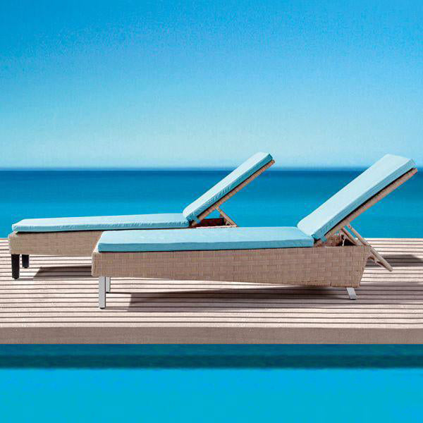 Outdoor Wicker Sun Lounger - Blue