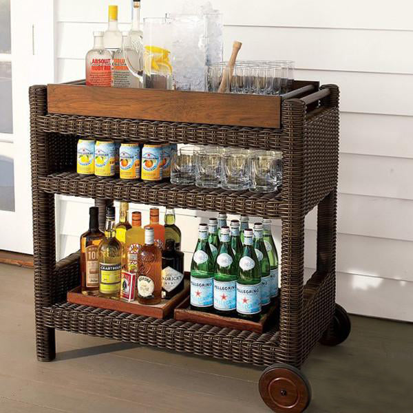Outdoor Wicker Serving Trolley- Teak