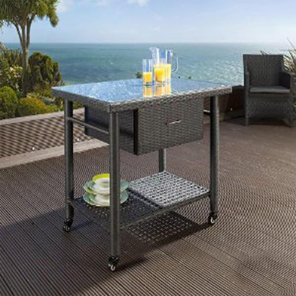 Outdoor Wicker Serving Trolley- Marine