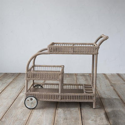 Outdoor Wicker Serving Trolley- Indus