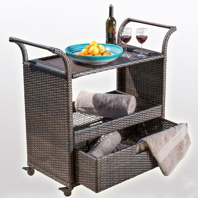Outdoor Wicker Serving Trolley- Patio