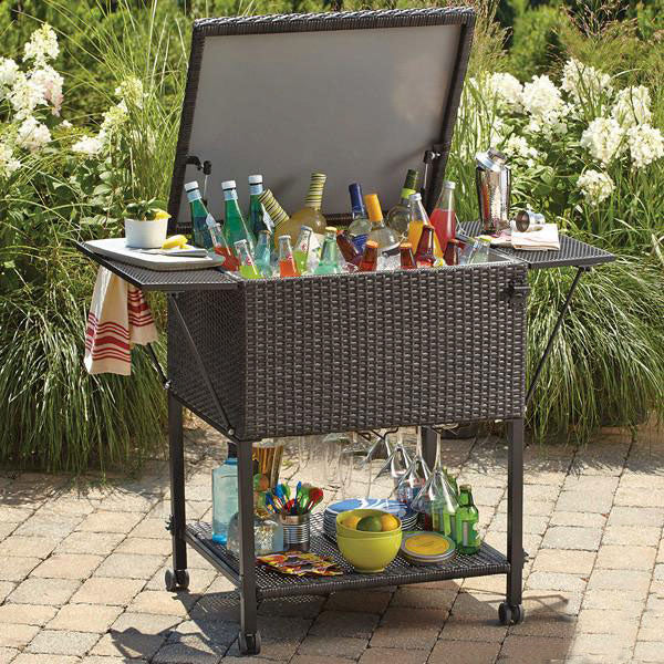 Outdoor Wicker Serving Trolley- Bar
