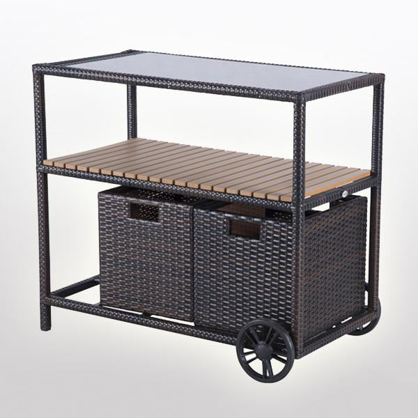 Outdoor Wicker Serving Trolley- Basket
