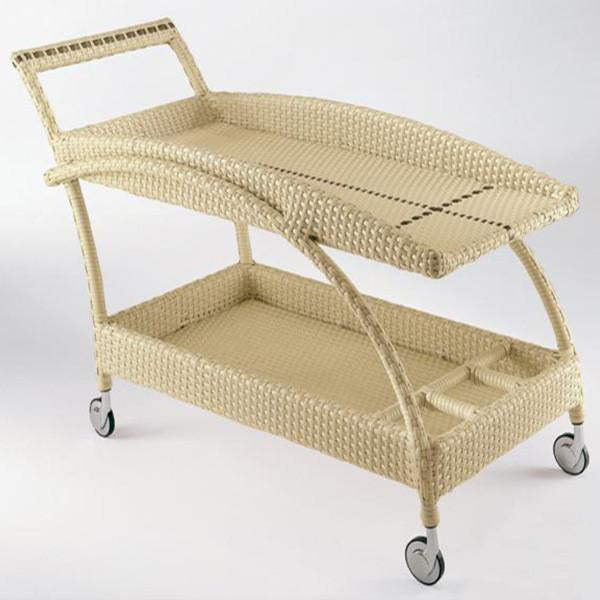 Outdoor Wicker Serving Trolley- Fluid