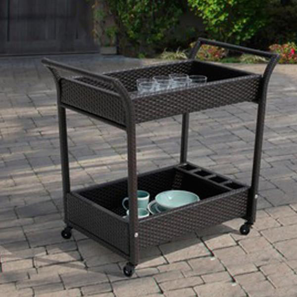 Outdoor Wicker Serving Trolley- Modern