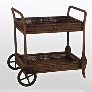Outdoor Wicker Serving Trolley- Tropical