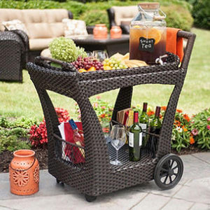 Outdoor Wicker Serving Trolley- Vintage