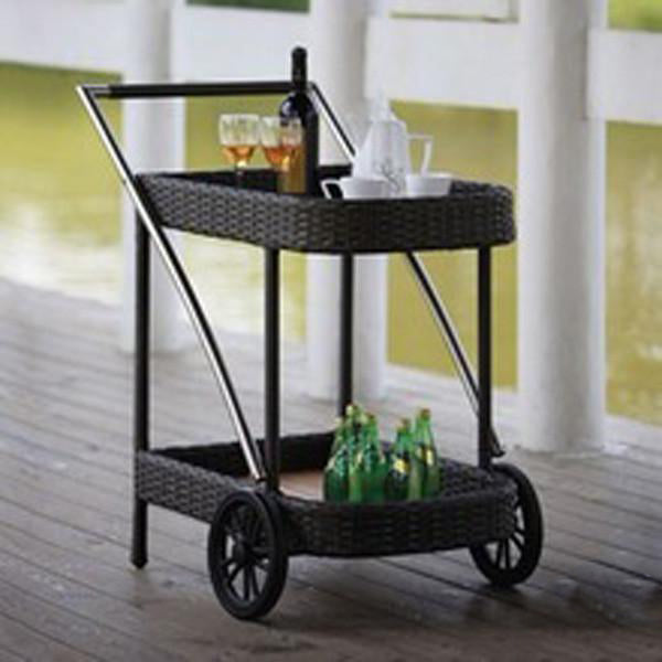 Outdoor Wicker Serving Trolley- Budget