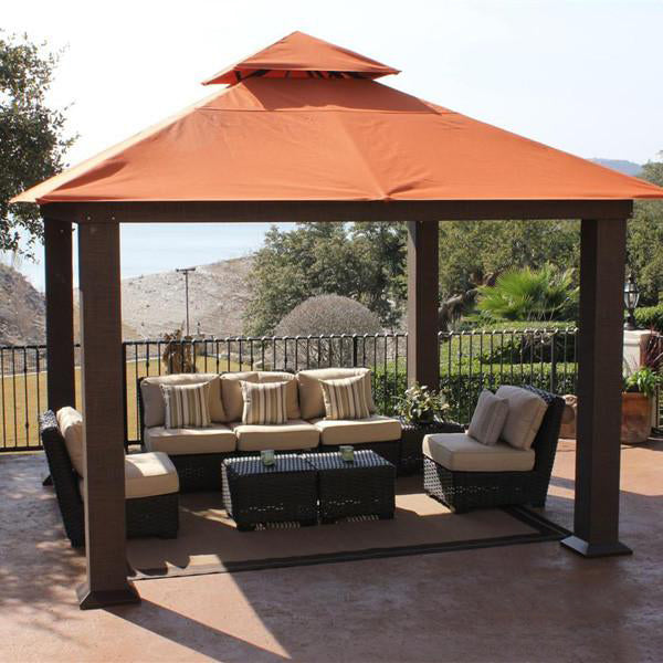 Outdoor Wicker Cabana & Gazebo - Maple