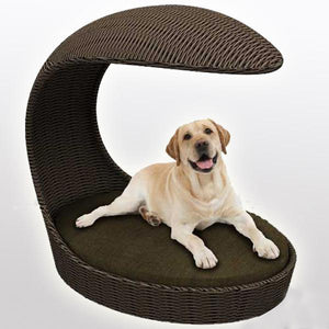 Outdoor Wicker Dog Basket Canopy