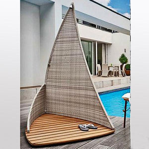 Outdoor Wicker Jacuzzi Shower Panel - closet
