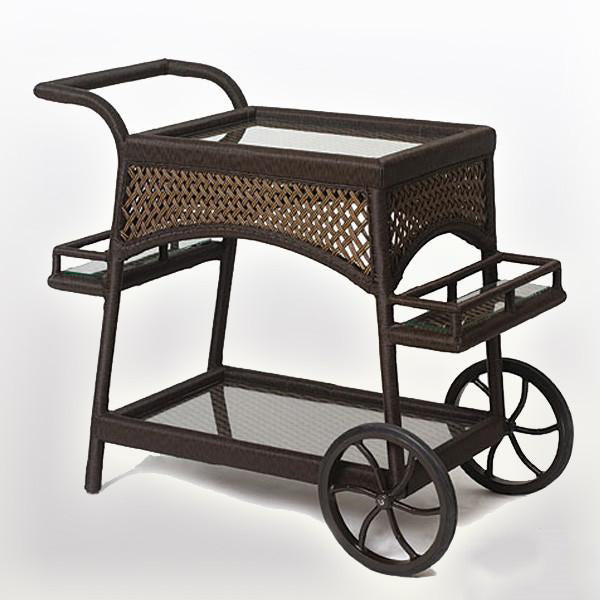 Outdoor Wicker Serving Trolley - Espresso