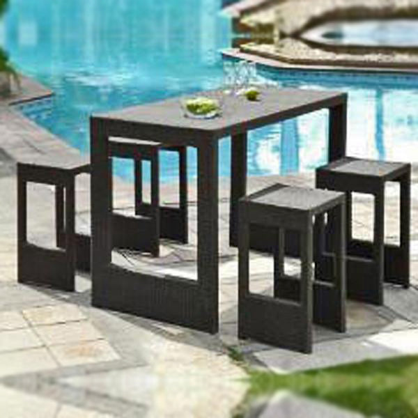 Outdoor Wicker Bar Set - Pool