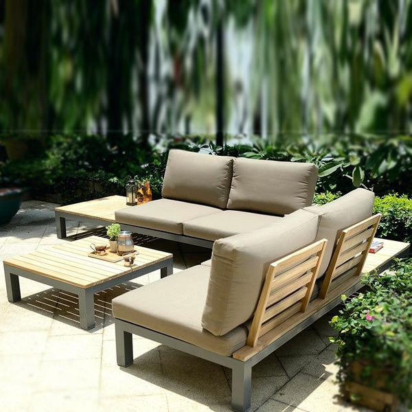 Outdoor Wood & Aluminium - Sofa Set - Ebony