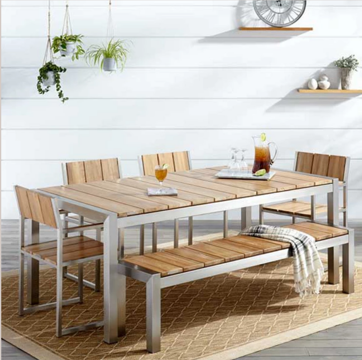 Outdoor Wood & Steel Combo Dining Set - Hawthorn