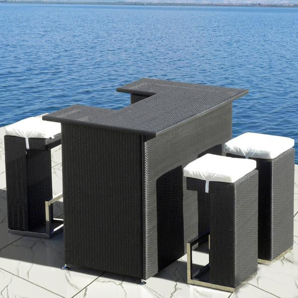 Outdoor Furniture - Wicker Bar Set - Ebony