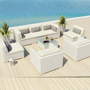 Outdoor Wicker Sofa - White Knight