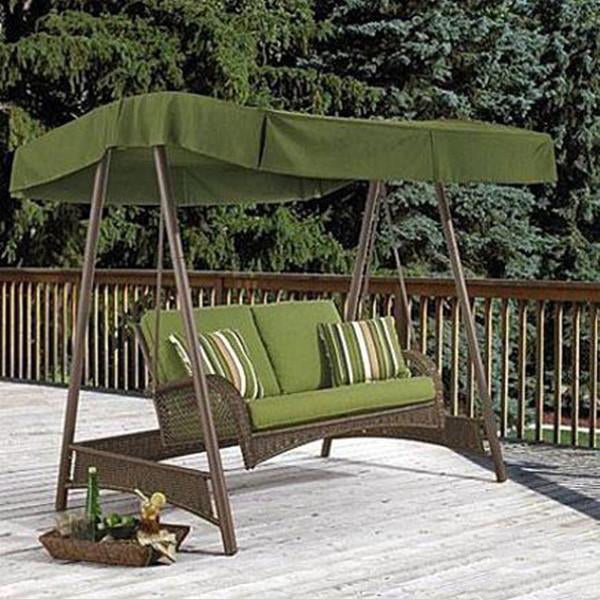 Outdoor Wicker Two Seater Swing - Vintage