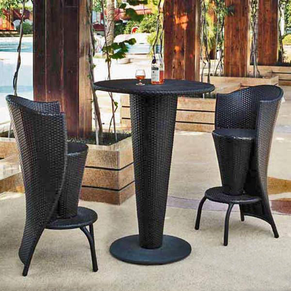 Outdoor Furniture - Wicker Bar Set - Olive