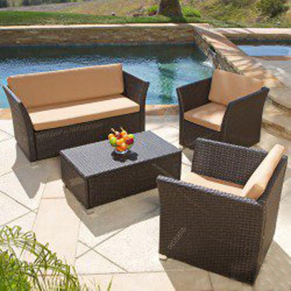Outdoor Furniture - Wicker Sofa Set - Pebble