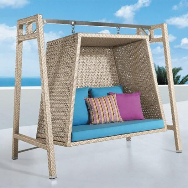 Outdoor Wicker Two Seater Swing - Aura