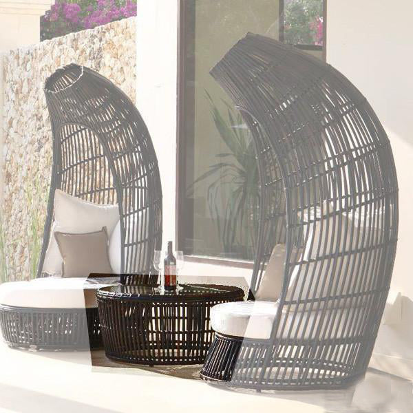 Outdoor Wicker Canopy Bed - Queen