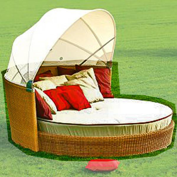 Outdoor Wicker Canopy Bed - Tropical