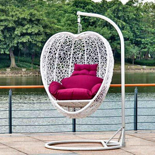 Outdoor Wicker - Swing With Stand - Heart