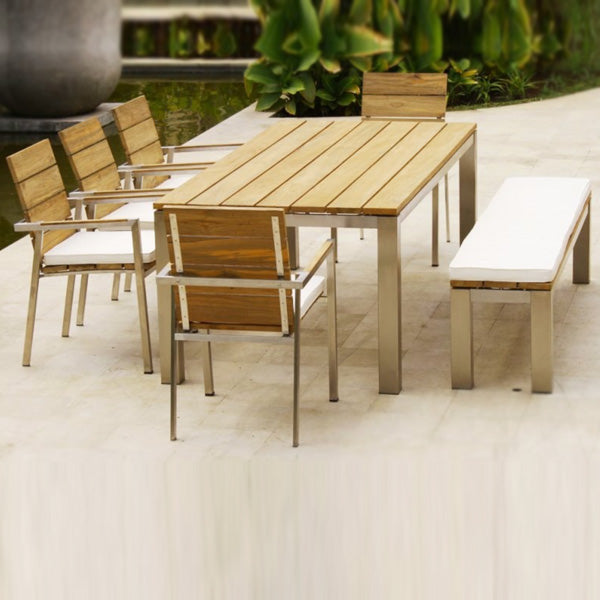 Outdoor Wood & Steel - Dining Set - Iroko