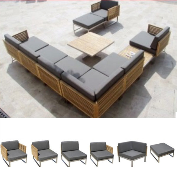 Outdoor Wood & Steel - Sofa Set - Black Cherry