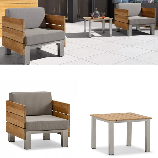 Outdoor Wood & Steel - Sofa Set - Beech