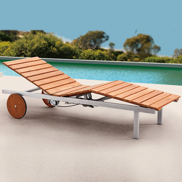 Outdoor Wood & Steel - Sun Lounger - Birch