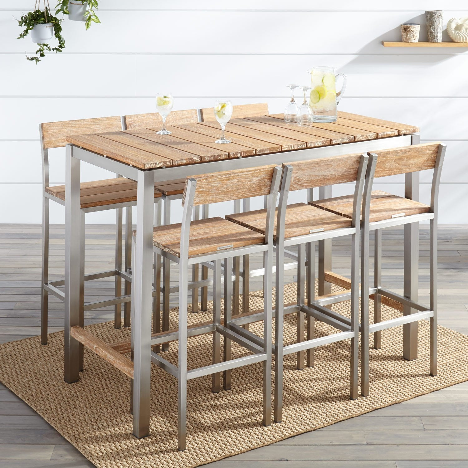 Outdoor Wood & Steel Bar Chair & Table Set